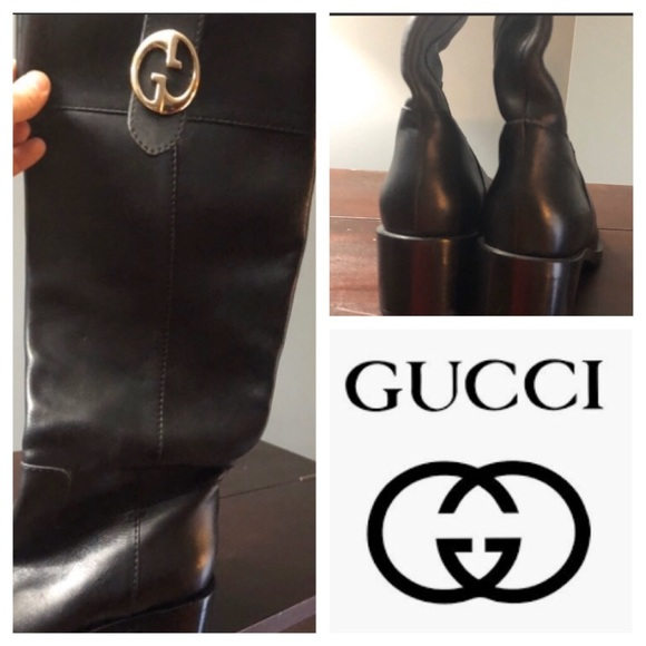 Authentic Gucci Black Barbara Riding Boots 278243